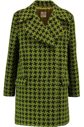 STELLA JEAN Houndstooth brushed-knit coat