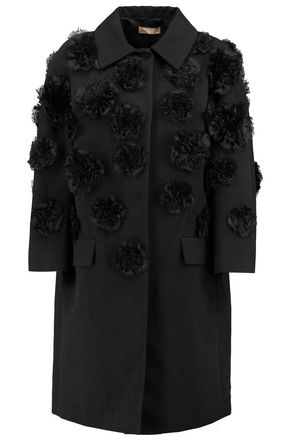 MICHAEL KORS Appliqued cotton and linen-blend coat