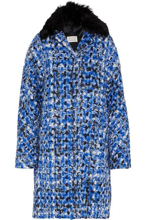 MAISON MARGIELA Oversized alpaca-trimmed wool-tweed coat