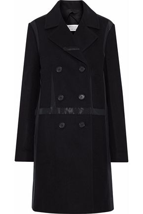 MAISON MARGIELA Double-breasted satin-paneled wool and cashmere-blend coat