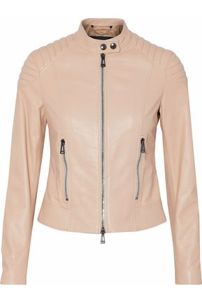 BELSTAFF Ribbed-paneled leather biker jacket