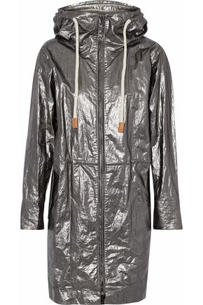 BELSTAFF Coated metallic canvas hooded jacket