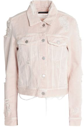 J BRAND Distressed frayed denim jacket