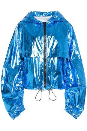 MSGM Cotton-blend lamé hooded jacket