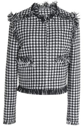MSGM Fringed tweed jacket