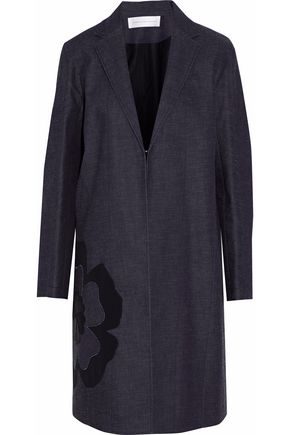 VICTORIA, VICTORIA BECKHAM Appliquéd cotton-chambray coat