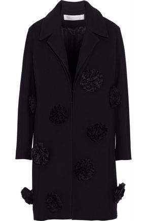 VICTORIA, VICTORIA BECKHAM Floral-appliquéd wool coat