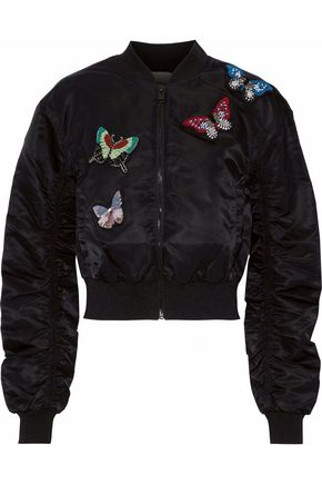 CINQ À SEPT Ruched embellished shell bomber jacket