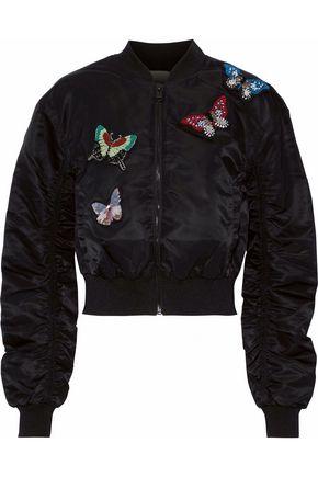 CINQ À SEPT Appliquéd ruched shell bomber jacket
