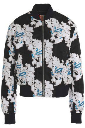 MSGM Floral-print satin bomber jacket