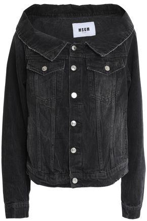 MSGM Off-the-shoulder frayed denim jacket