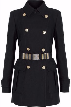 VERSACE COLLECTION Belted canvas peacoat