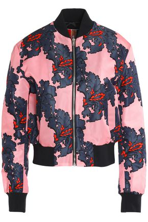 MSGM Printed satin bomber jacket