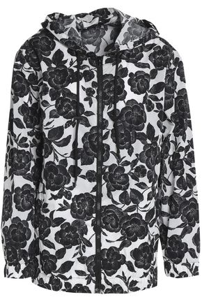 MSGM Floral-print shell hooded jacket