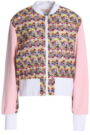 MSGM Paneled cotton-blend lace and crepe bomber jacket