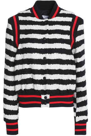MSGM Striped cotton-blend tweed bomber jacket
