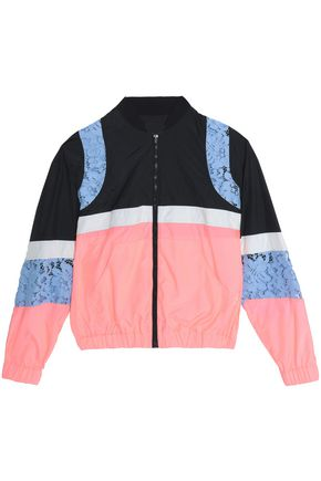 MSGM Corded lace-paneled color-block shell windbreaker jacket