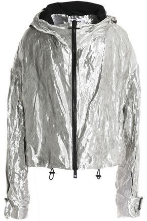 JIL SANDER Crinkled metallic-crepe windbreaker jacket