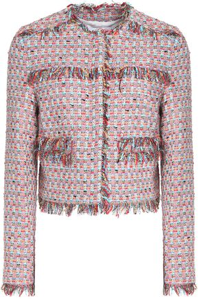 MSGM Frayed cotton-blend tweed jacket