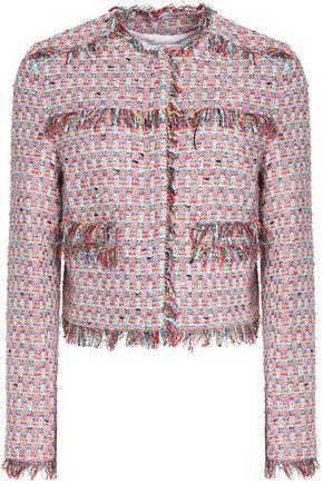 MSGM Frayed cotton-blend tweed jacket