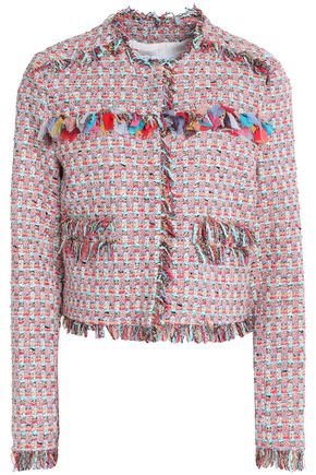 MSGM Fringe-trimmed cotton-blend tweed jacket