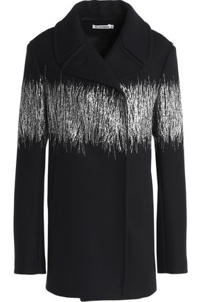 JIL SANDER Metallic fringe-trimmed virgin wool-blend coat