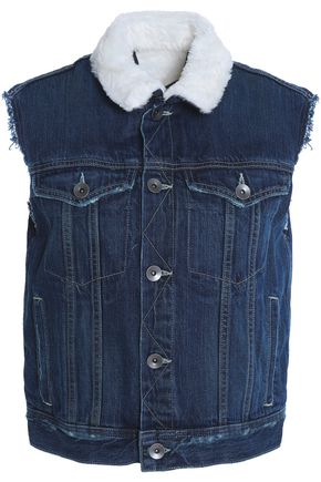 HELMUT LANG Faux fur-lined denim vest