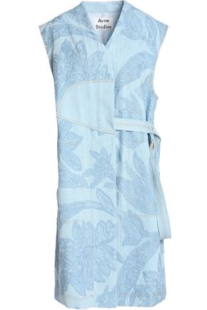 ACNE STUDIOS Embroidered paneled denim wrap dress