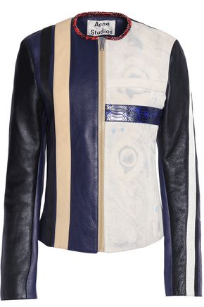 ACNE STUDIOS Grosgrain-trimmed paneled leather jacket
