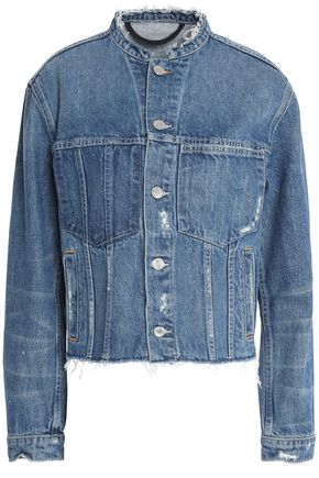 HELMUT LANG Frayed and distressed cropped denim jacket
