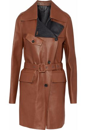 BELSTAFF Double-breasted belted leather jacket