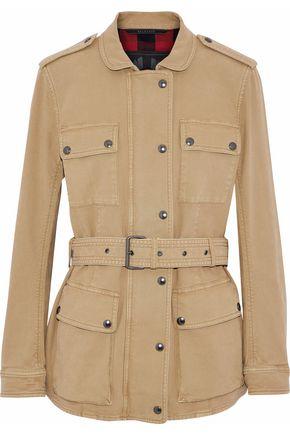 BELSTAFF Belted appliquéd cotton-blend canvas jacket