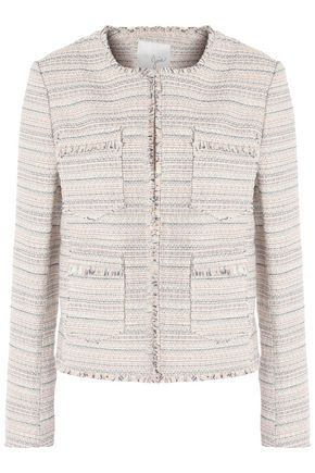 JOIE Fringe-trimmed cotton-blend  tweed jacket