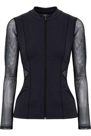 CUSHNIE ET OCHS Mesh-paneled stretch-jersey top