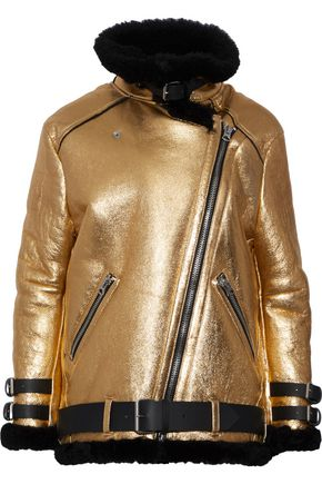 ACNE STUDIOS Metallic leather and shearling  jacket