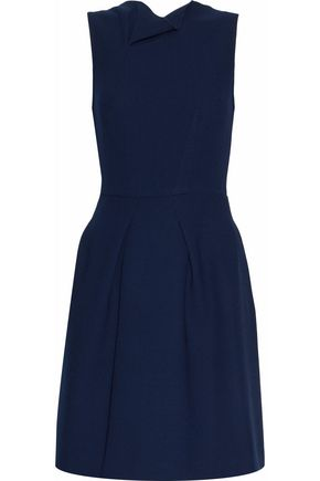 ROLAND MOURET Flared pleated wool dress