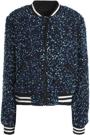 ALICE + OLIVIA Sequinned bead-embellished silk bomber jacket