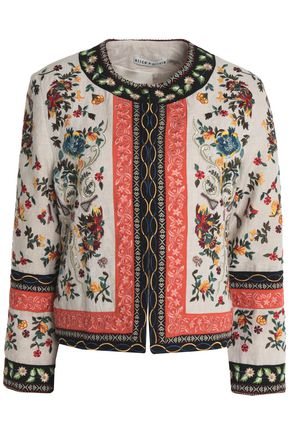 ALICE + OLIVIA Floral-embroidered linen blazer