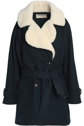 MAISON KITSUNÉ Double-breasted shearling-trimmed belted wool-blend coat
