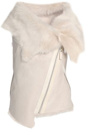 KARL DONOGHUE Shearling-trimmed suede vest