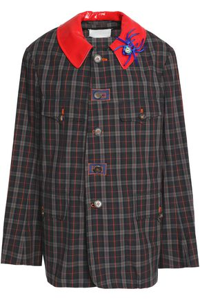 MAISON MARGIELA Faux leather-trimmed embellished checked cotton jacket