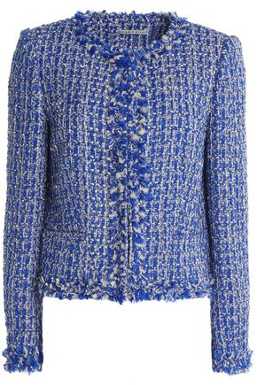 ALICE + OLIVIA Frayed tweed lamé jacket