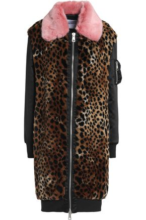 AINEA Satin-paneled leopard-print faux fur coat