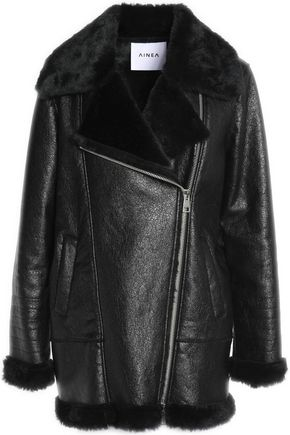 AINEA Faux shearling-trimmed faux cracked-leather coat