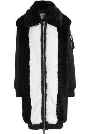 AINEA Shell-paneled intarsia faux fur coat