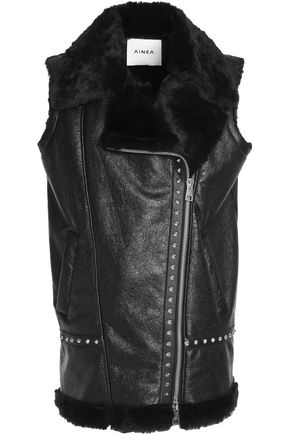 AINEA Studded coated faux shearling vest