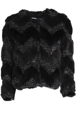 AINEA Lamé-paneled faux fur jacket