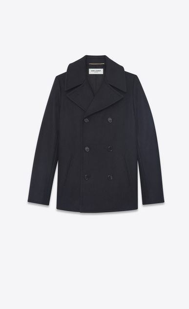 SAINT LAURENT Coats D Double breasted caban in navy blue wool a_V4