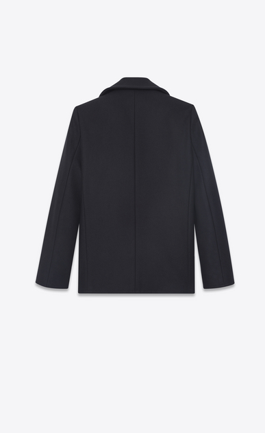 SAINT LAURENT Coats D Double breasted caban in navy blue wool b_V4