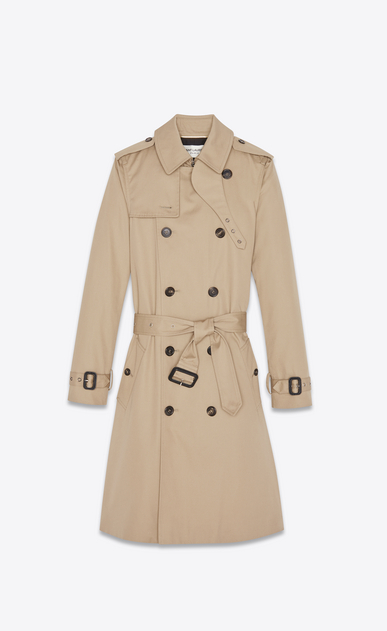 SAINT LAURENT Coats D Double breasted belted trench coat in sand gabardine a_V4